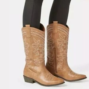 Jessie Embroidered Cowboy Boot Taupe Size 9